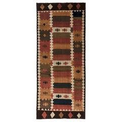 Midcentury Labijar Handmade Wool Rug in Shades of Brown