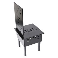 Midcentury Lacquered Black Ash Wood Chair after Charles Rennie Mackintosh, 1980s
