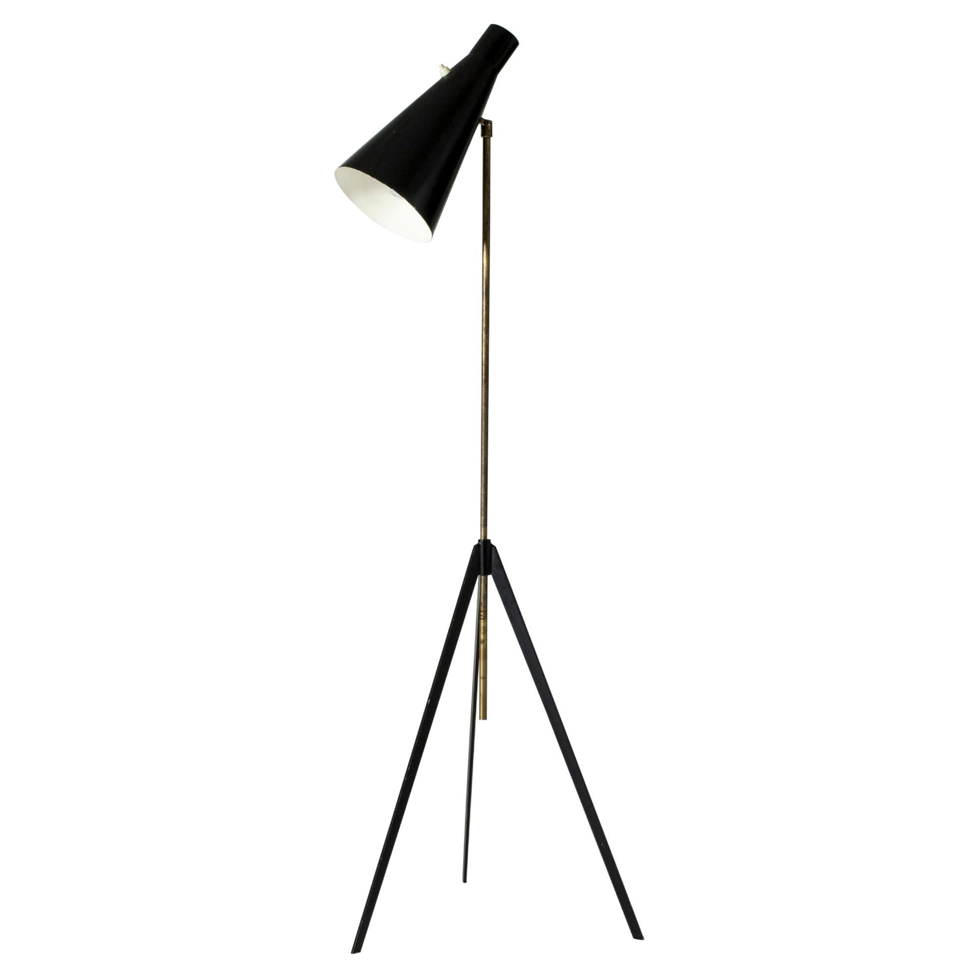 Midcentury Lacquered Metal & Brass Floor Lamp by Alf Svensson for Bergboms