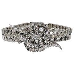 Midcentury Ladies Hamilton White Gold and Diamond Cover Watch