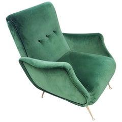 Midcentury Lady Zanuso Green Velvet Brass Legs Armchairs