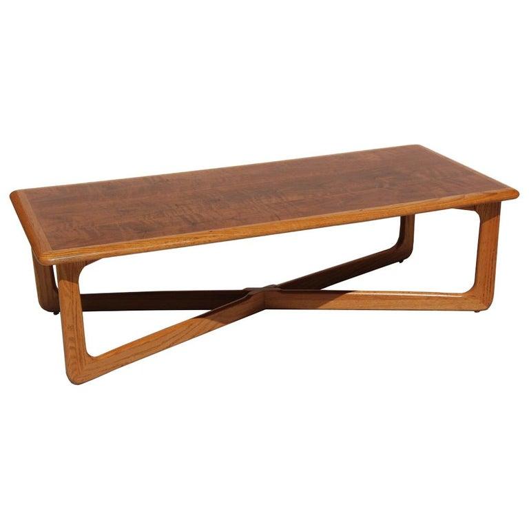Midcentury Lane Perception Oak Walnut X-Base Coffee Table For Sale