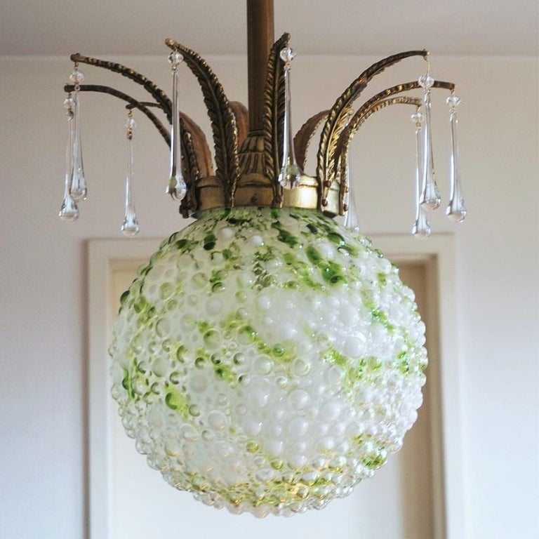 Midcentury Large Blown Murano Glass Ball Chandelier, Pendant, Italy, 1950s For Sale 3