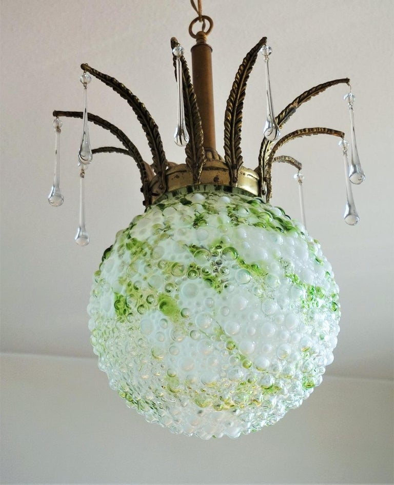 Midcentury Large Blown Murano Glass Ball Chandelier, Pendant, Italy, 1950s For Sale 4