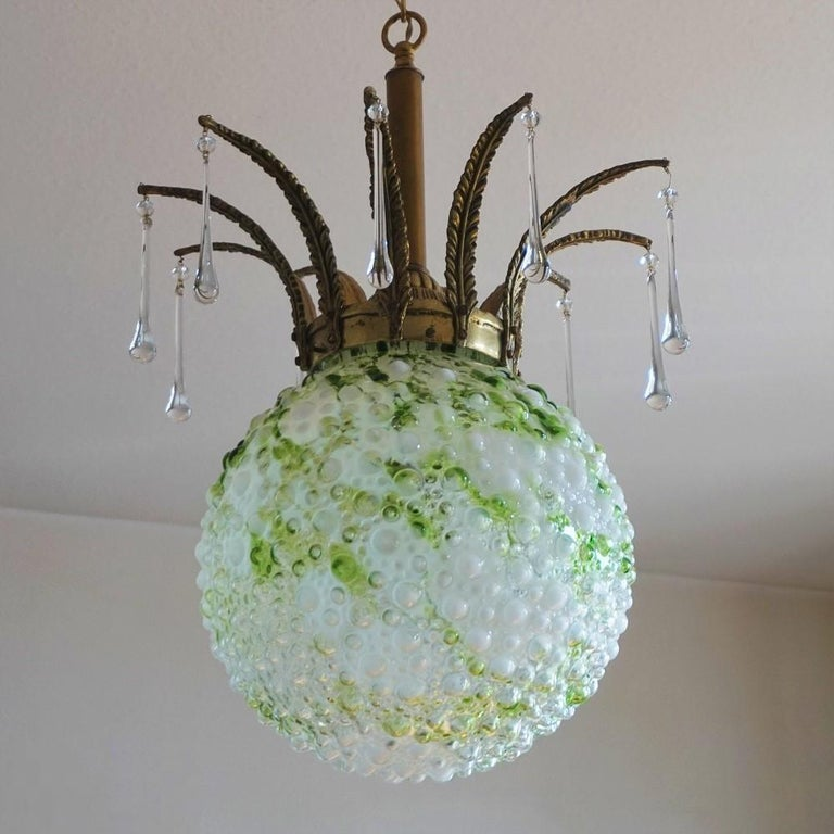 Art Deco Midcentury Large Blown Murano Glass Ball Chandelier, Pendant, Italy, 1950s For Sale
