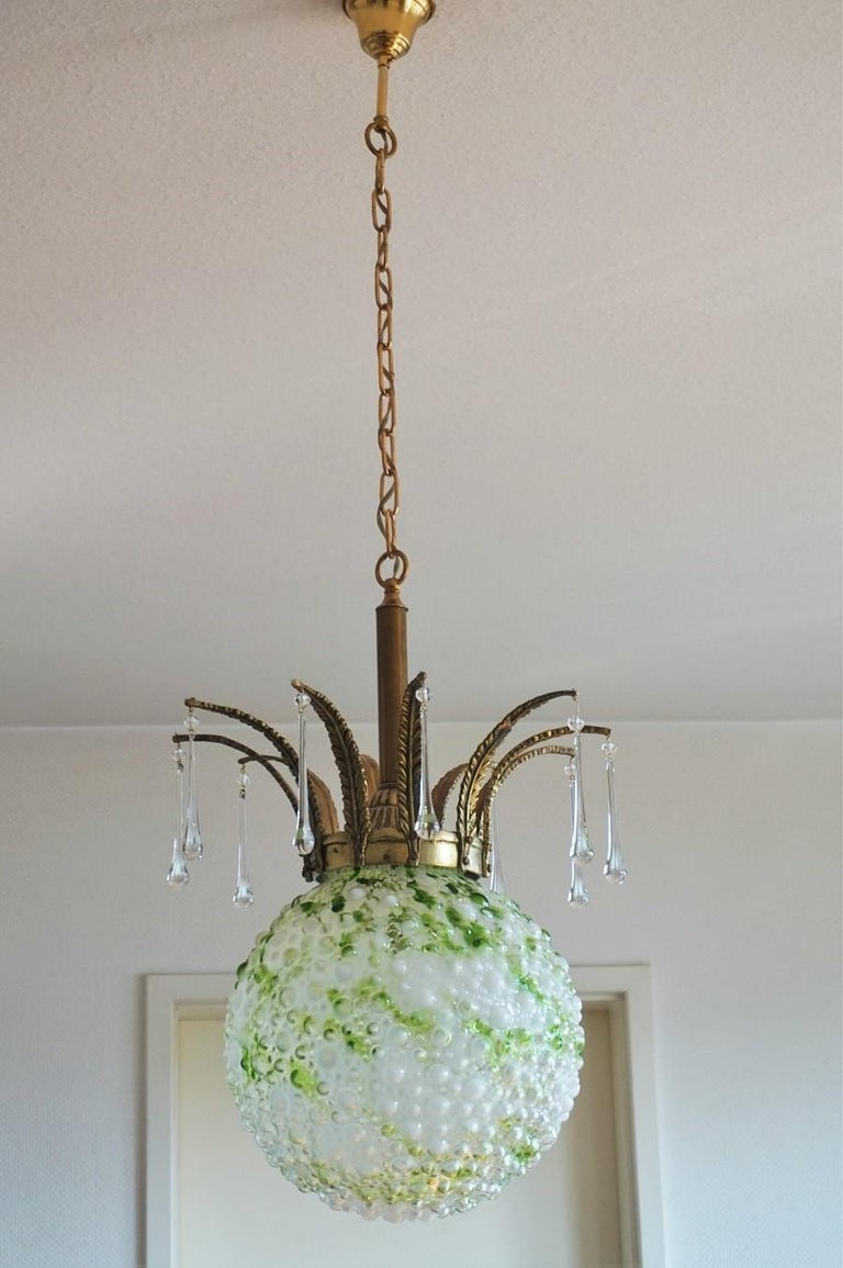 Midcentury Large Blown Murano Glass Ball Chandelier, Pendant, Italy, 1950s In Good Condition For Sale In Frankfurt am Main, DE