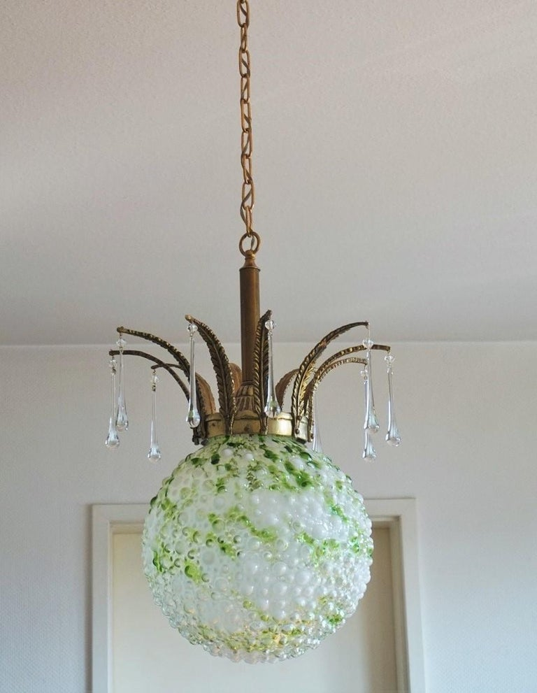 20th Century Midcentury Large Blown Murano Glass Ball Chandelier, Pendant, Italy, 1950s For Sale