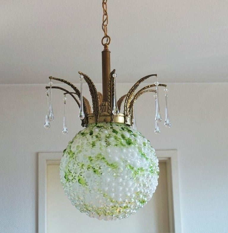 Brass Midcentury Large Blown Murano Glass Ball Chandelier, Pendant, Italy, 1950s For Sale
