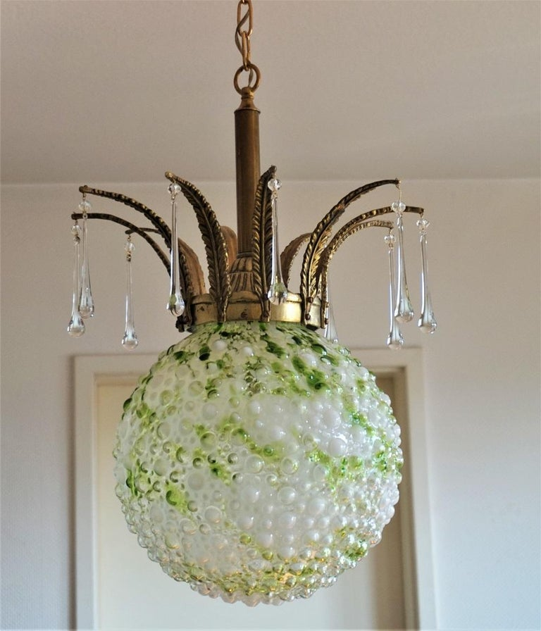 Midcentury Large Blown Murano Glass Ball Chandelier, Pendant, Italy, 1950s For Sale 1