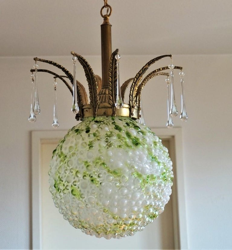 Midcentury Large Blown Murano Glass Ball Chandelier, Pendant, Italy, 1950s For Sale 2