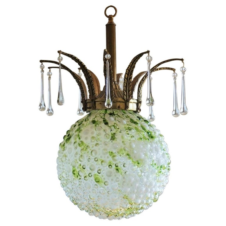 Midcentury Large Blown Murano Glass Ball Chandelier, Pendant, Italy, 1950s For Sale