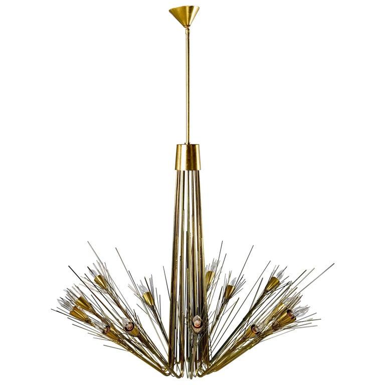 Midcentury Large Brutalist Style Brass 14-Light Chandelier For Sale