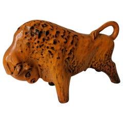 Midcentury Large Ceramic Bull Sculpture