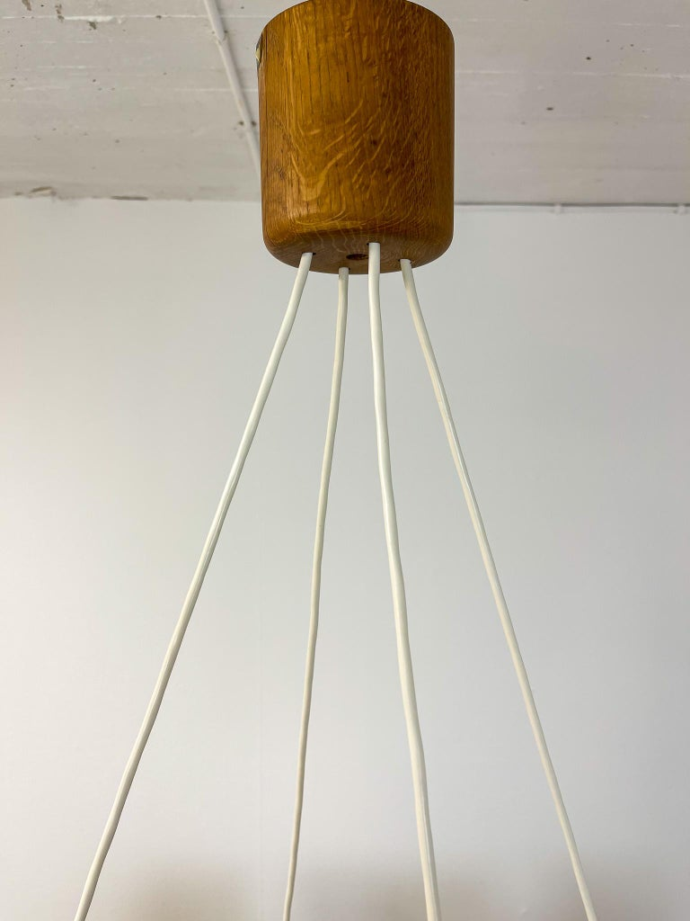 Midcentury Large Chandelier, Pine and Acrylic Luxus Sweden, 1960s For Sale 10