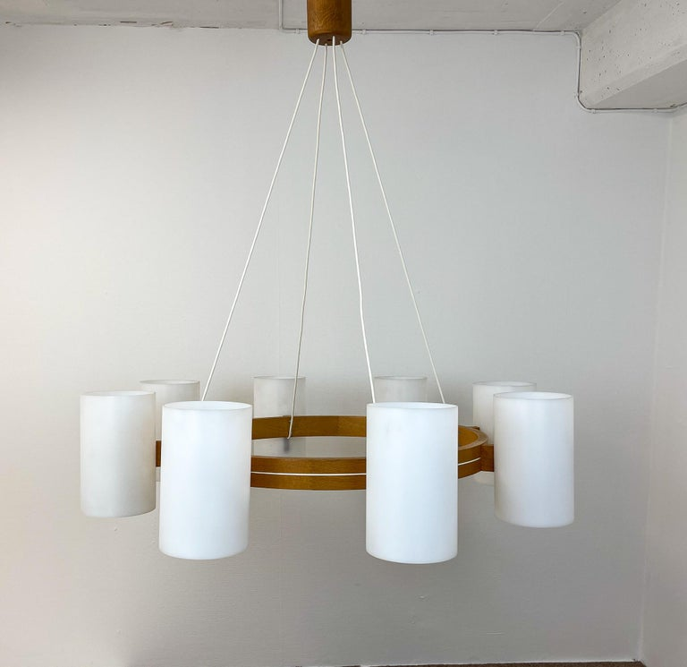 Mid-Century Modern Midcentury Large Chandelier, Pine and Acrylic Luxus Sweden, 1960s For Sale