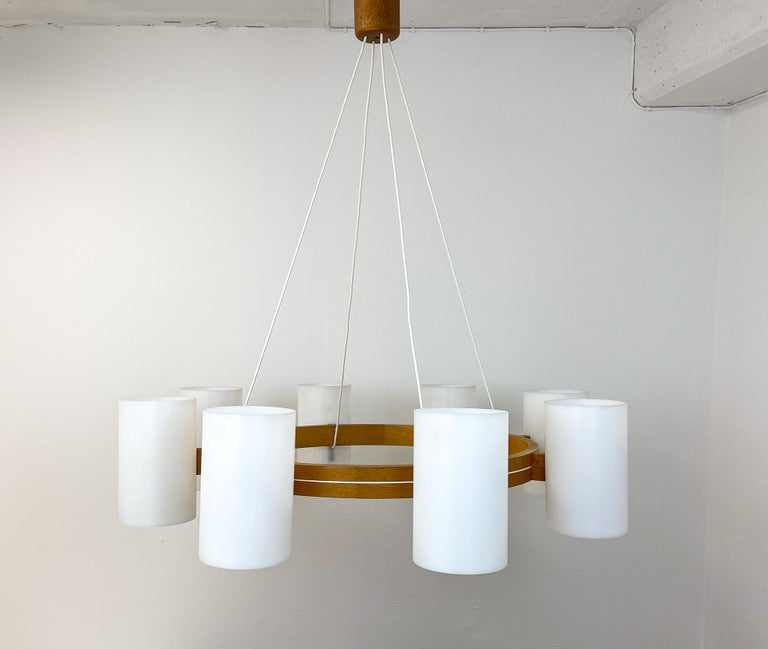 Swedish Midcentury Large Chandelier, Pine and Acrylic Luxus Sweden, 1960s For Sale