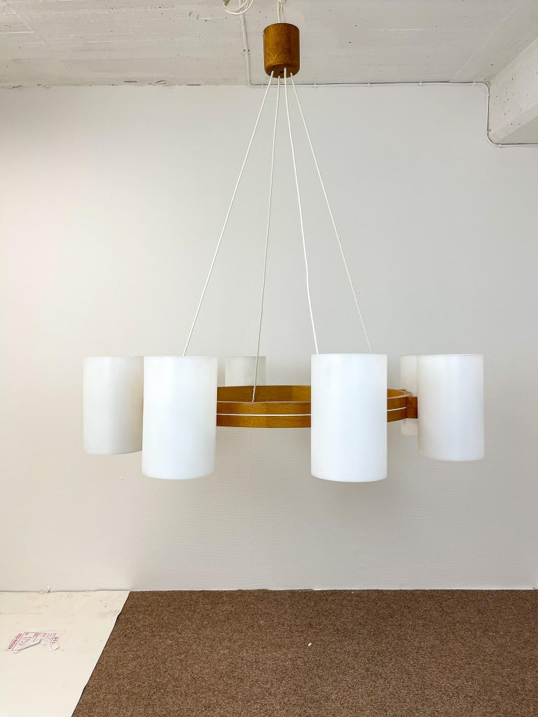 Mid-20th Century Midcentury Large Chandelier, Pine and Acrylic Luxus Sweden, 1960s For Sale