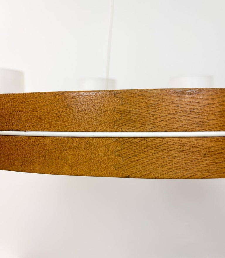 Midcentury Large Chandelier, Pine and Acrylic Luxus Sweden, 1960s For Sale 2
