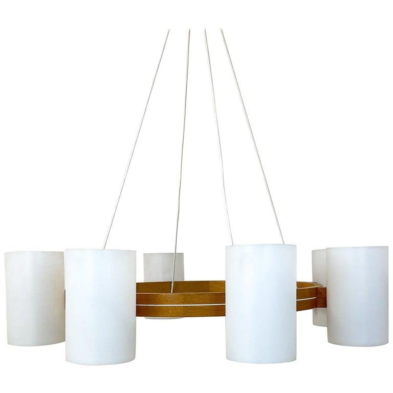 Midcentury Large Chandelier, Pine and Acrylic Luxus Sweden, 1960s For Sale