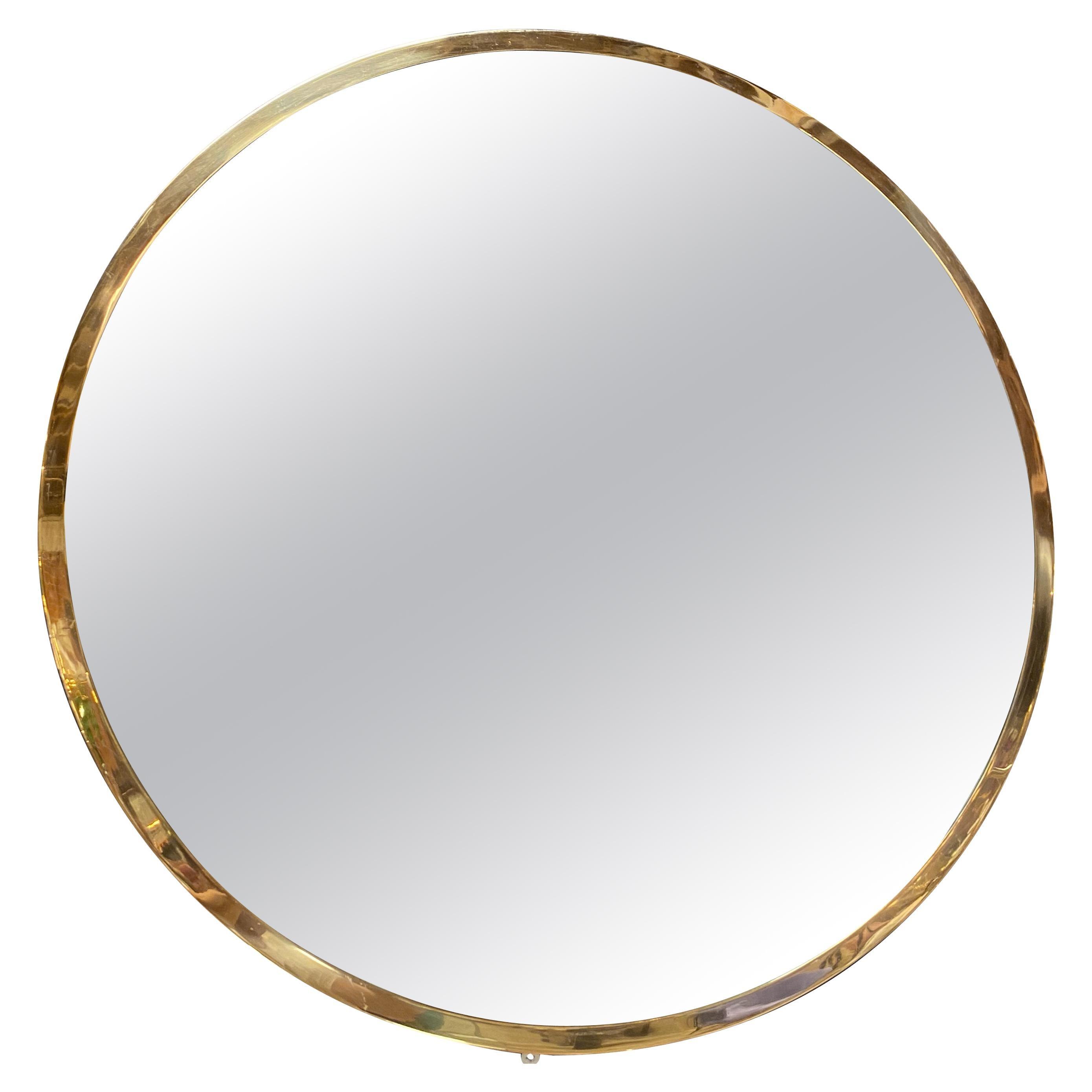 Midcentury Large Circular Brass Mirror, Italy, 1950s