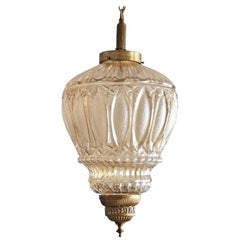 Midcentury Large French Art Deco Brass and Art Glass Lantern, Chandelier