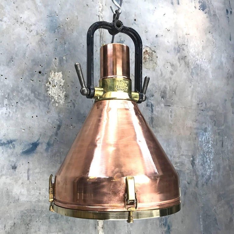 Midcentury Large Industrial German Copper, Brass, Cast Iron Gantry Pendant Lamp For Sale 1