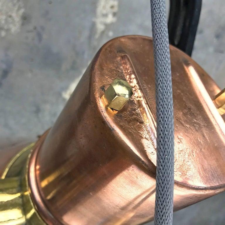 Midcentury Large Industrial German Copper, Brass, Cast Iron Gantry Pendant Lamp For Sale 2