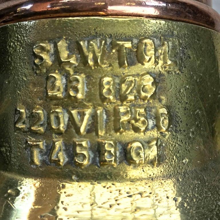 Midcentury Large Industrial German Copper, Brass, Cast Iron Gantry Pendant Lamp For Sale 5