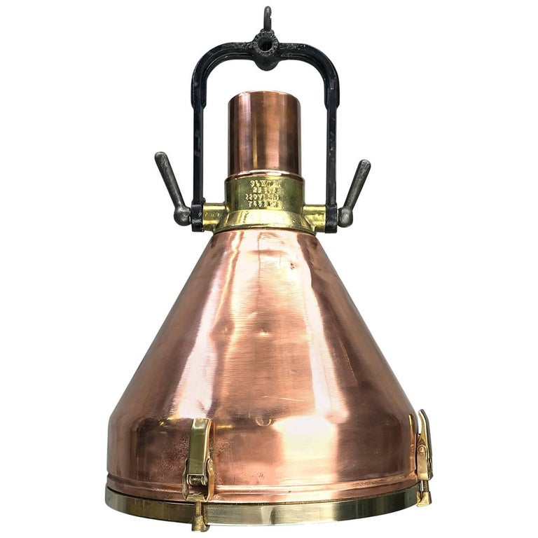 Midcentury Large Industrial German Copper, Brass, Cast Iron Gantry Pendant Lamp For Sale