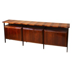 Midcentury Large Italian Credenza in Three Sections Indian Cherry and Rosewood