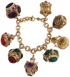 Midcentury Large Italian Gold Charm Bracelet with Assorted Colored Stones