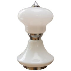 Midcentury Large Italian Milky Glass Table Lamp, 1960s
