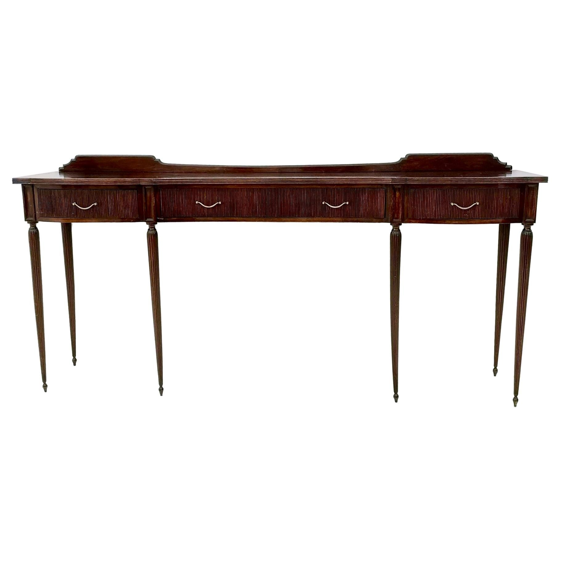 Midcentury Large Wooden Console Table with Brass Handles, Italy
