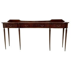 Midcentury Large Mahogany Console Table with Brass Handles, Italy, 1950s