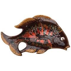 Midcentury Large Majolica Fish Platter Vallauris, circa 1950
