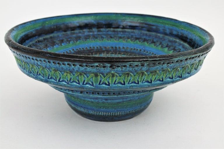 Midcentury Large Scale Aldo Londi Bitossi Rimini Blue Glazed Ceramic Footed Bowl For Sale 4