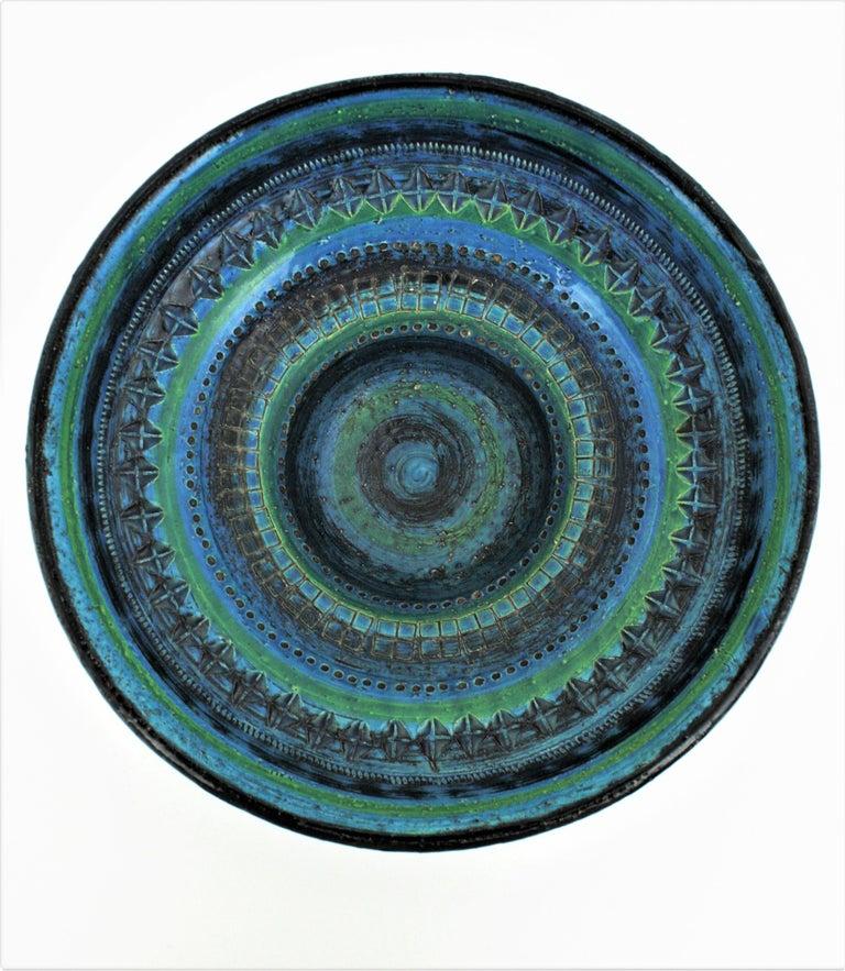 Midcentury Large Scale Aldo Londi Bitossi Rimini Blue Glazed Ceramic Footed Bowl For Sale 5