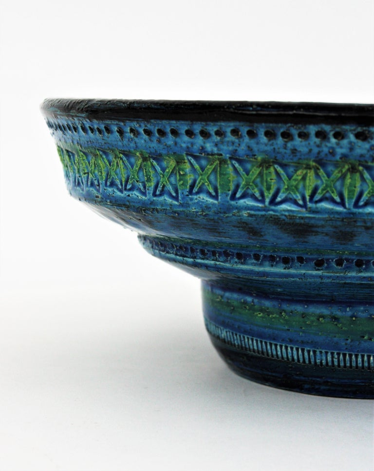 Midcentury Large Scale Aldo Londi Bitossi Rimini Blue Glazed Ceramic Footed Bowl For Sale 6