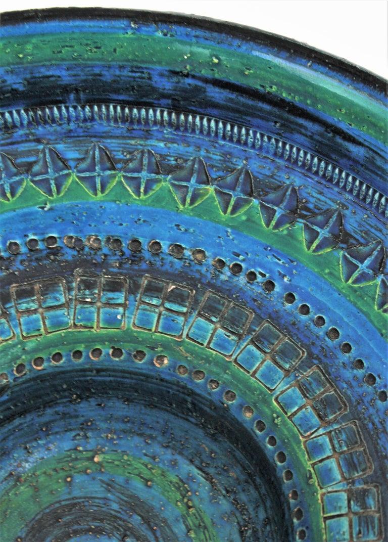Midcentury Large Scale Aldo Londi Bitossi Rimini Blue Glazed Ceramic Footed Bowl For Sale 8