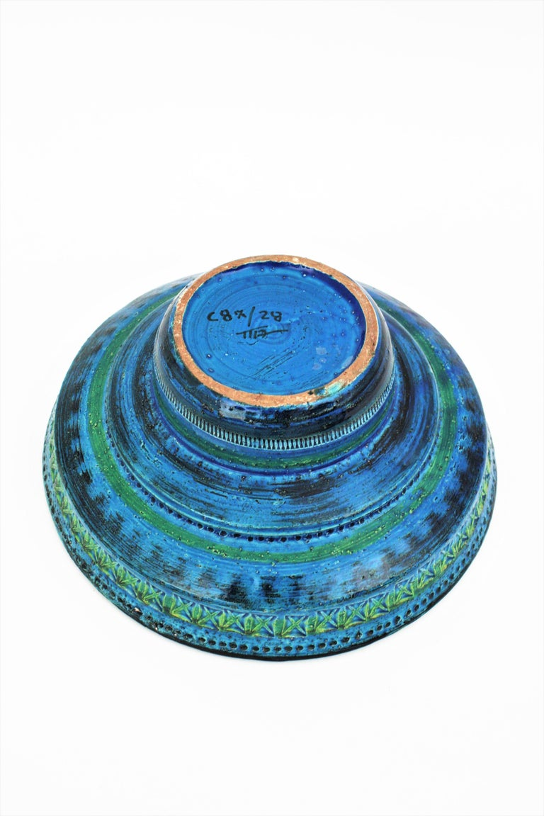 Midcentury Large Scale Aldo Londi Bitossi Rimini Blue Glazed Ceramic Footed Bowl For Sale 9