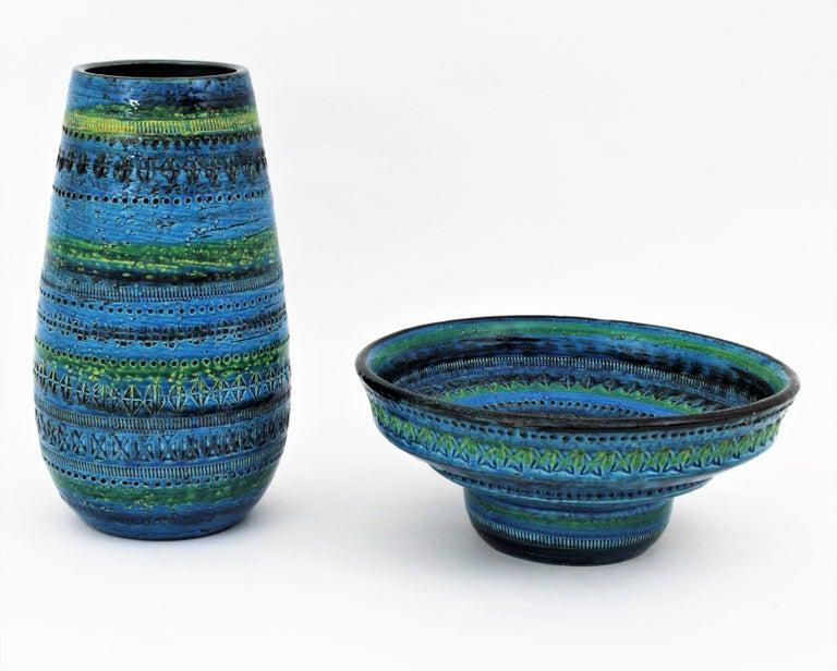 Italian Midcentury Large Scale Aldo Londi Bitossi Rimini Blue Glazed Ceramic Footed Bowl For Sale