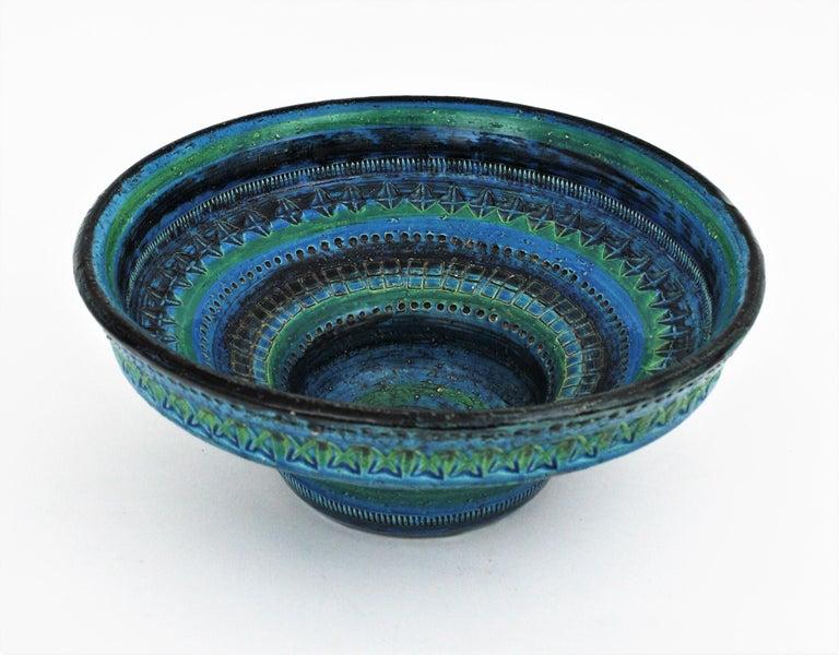 Midcentury Large Scale Aldo Londi Bitossi Rimini Blue Glazed Ceramic Footed Bowl For Sale 1