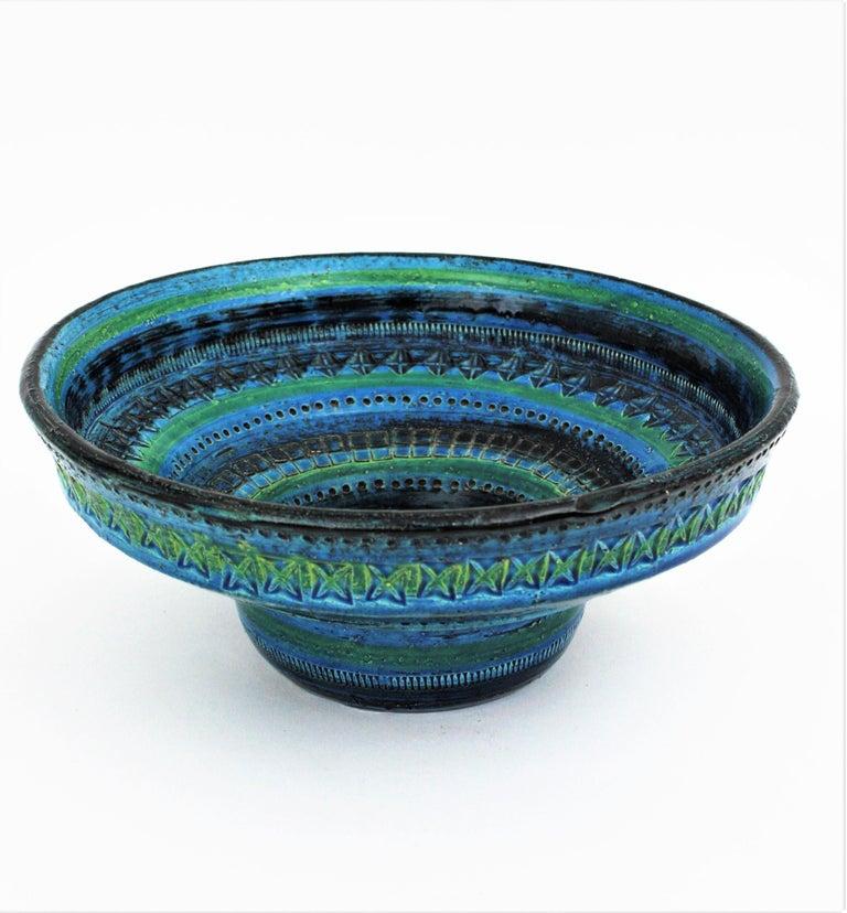 Midcentury Large Scale Aldo Londi Bitossi Rimini Blue Glazed Ceramic Footed Bowl For Sale 2