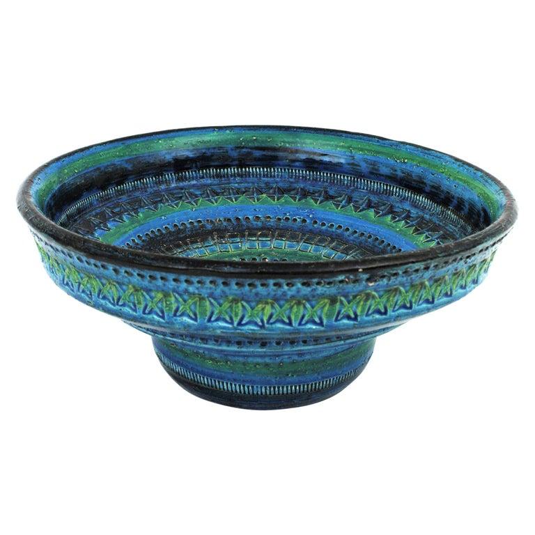 Midcentury Large Scale Aldo Londi Bitossi Rimini Blue Glazed Ceramic Footed Bowl For Sale