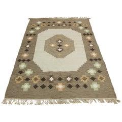 Midcentury Large Swedish Flat-Weave Carpet, 1950s