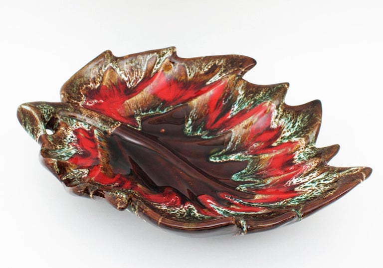 Mid-Century Modern Midcentury Large Vallauris Leaf Design Majolica Ceramic Platter or Centerpiece For Sale