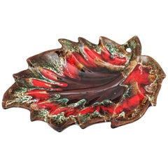 Midcentury Large Vallauris Leaf Design Majolica Ceramic Platter or Centerpiece