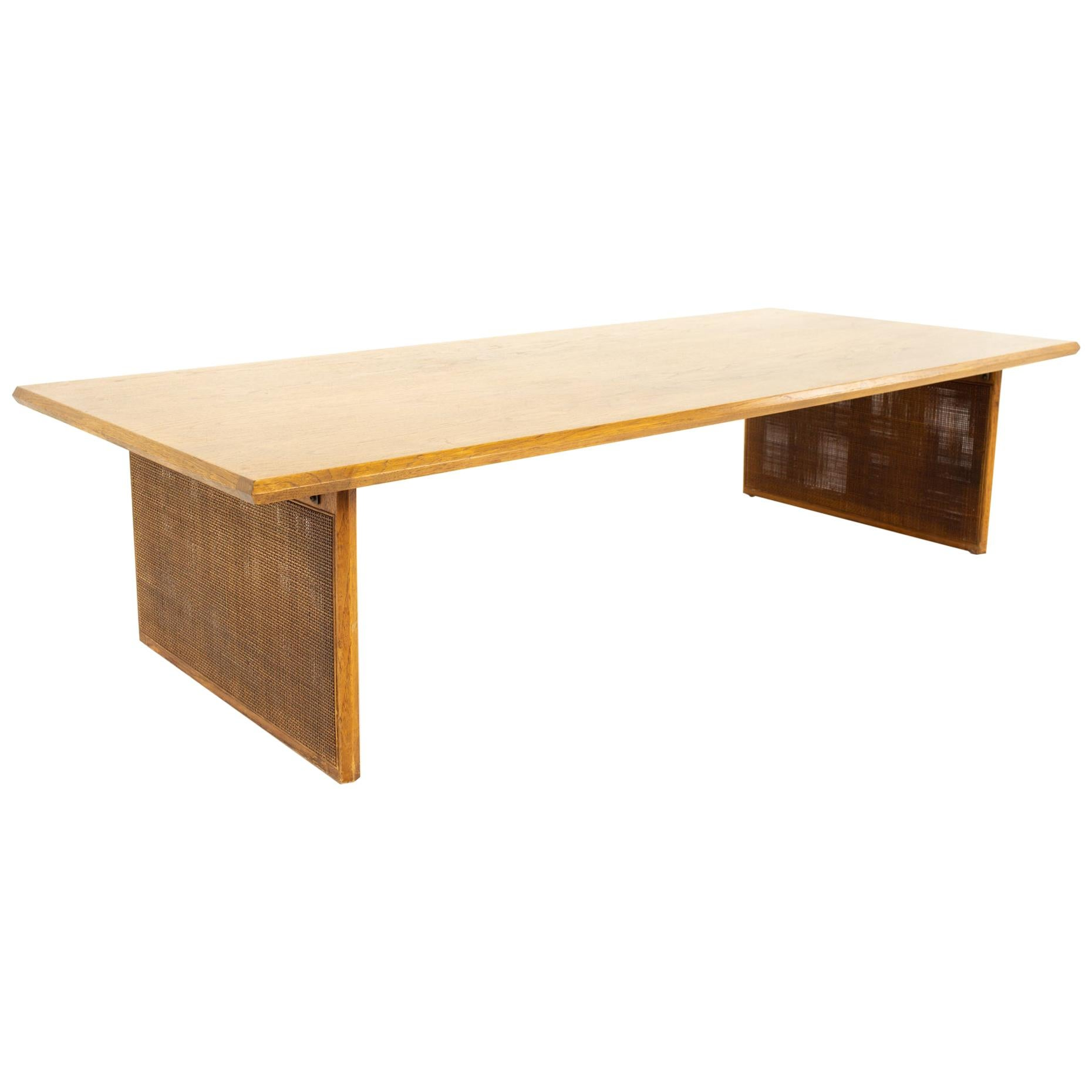 Mid Century Large Walnut and Cane Coffee Table