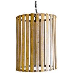 Midcentury Large Wooden Ruler Pendant Light