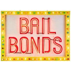 Midcentury Las Vegas Strip Neon Bail Bonds Sign Art